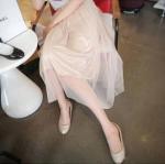 """""""พร้อมส่ง""""เสื้อผ้าแฟชั่นสไตล์เกาหลีราคาถูก กระโปรงตาข่ายยาว เอวยางยืด สีชมพู มีซับใน"""