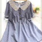 """""""พร้อมส่ง""""เสื้อผ้าแฟชั่นสไตล์ญี่ปุ่นราคาถูก มิินิเดรสลายจุดแขนสั้น คอปกถัก ผ่ากระดุมหน้า 3เม็ด ไม่มีซับใน -สีน้ำเงิน"""