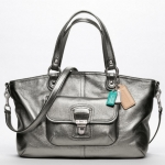 Coach Poppy Leather Rocker Anthracite Convertible Satchel Handbag # 18997