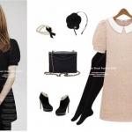 """""""พร้อมส่ง""""เสื้อผ้าแฟชั่นสไตล์เกาหลีราคาถูก Brand Cherry KOKO เดรสลูกไม้ถัก คอปก แขนสั้น มีซับใน -สีชมพู"""