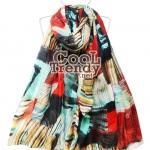 ผ้าพันคอ ผ้าคลุมไหล่ ลายผ้าซัมบาลา : Shambhala สีเขียวแดง - ผ้าพันคอ Cotton - size 180*100 cm