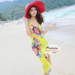 ผ้าสายเดี่ยวคลุมชายหาดลายดอกไม้ Blossom : สีเหลือง AB0025