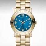 Marc Jacobs Women Watch Bracelet Gold Amy Swarovski Blue Dial w/Box MBM3303