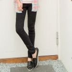 ++พร้อมส่ง++ กางเกงผ้ายืดขายาวไซส์ใหญ่ ทรงขากระบอก เอวยางยืด สีดำ (4L)