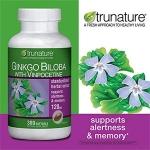 Trunature-Ginkgo 120mg 300เม็ด150วัน แป๊ะก้วย บำรุงสมองปลอดโปร่ง ช่วยให้เลือดไหลเวียนในสมองดี (มี4ขวด exp.12/2020)