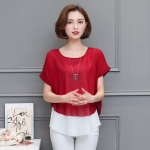 เสื้อชีฟองเย็บหลอก สีแดง (M,L,XL,2XL,3XL,4XL,5XL)