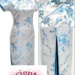 ♥พร้อมส่ง♥ ชุดกี่เพ้ายาว ลายดอกเหมย แขนสั้น ติดซิปข้าง สีฟ้า 6XL อก 48 นิ้ว