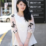 เสื้อชีฟองไซส์ใหญ่ สีขาวปักลาย แขนชีฟองแก้วลายดอกไม้ (L,5XL)