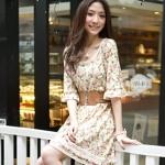 """""""พร้อมส่ง""""เสื้อผ้าแฟชั่นสไตล์เกาหลีราคาถูก Brand Tokyo fashion เดรสผ้าคอตตอนเนื้อนิ่มลายดอก แขนสามส่วน เอวจั๊ม ไม่มีซับใน มีเข็มขัดให้เหมือนแบบค่ะ"""