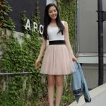 """""""พร้อมส่งค่ะ""""เสื้อผ้าแฟชั่นสไตล์เกาหลีราคาถูก Brand Cherry dress เดรสแขนกุดสีขาวผ้า cotton เนื้อดี เย็บติดกับแถบยืดสีดำ ตัวกระโปรงผ้ามุ้ง มีซับใน(มีตำหนิสีเหลืองๆ)"""