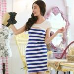 """""""พร้อมส่ง""""เสื้อผ้าแฟชั่นสไตล์เกาหลีราคาถูก Brand Jie Qi เดรสลายขวางสีขาว น้ำเงิน ช่วงบนเย็บติดกับเสื้อขาวแขนล้ำ เปิดช่วงอก ไม่มีซับในค่ะ"""