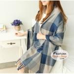ผ้าพันคอไหมพรมแฟชั่นสไตล์เกาหลี ลายสก๊อต : สีน้ำเงินเทา GH0012