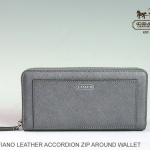 COACH DARCY LEATHER ACCORDION ZIP WALLET # 50427 สี PEWTER