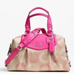 PROMOTION ลูกค้าเก่า !!! COACH ASHLEY DOTTED OP ART SATCHEL # 20027 สี KHAKI/FUCHSIA