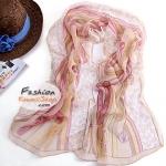 ผ้าพันคอแฟชั่นสวยหรู Luxury : สีชมพูอ่อน CK0097