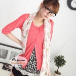 ผ้าพันคอแฟชั่นลายดอกไม้ Blossom : สีชมพู CK0116