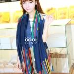 ผ้าพันคอลายทาง Painting Line สีน้ำเงิน - ผ้า Cotton twill - size 180 x 90 cm