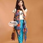 ผ้าพันคอแฟชั่นลายสวยหรู Luxury : สีน้ำเงิน CK0159
