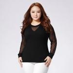 เสื้อยืดไซส์ใหญ่ สีดำ แขนชีฟอง (XL,2XL,3XL,4XL)