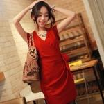 """size S """"พร้อมส่ง""""เสื้อผ้าแฟชั่นสไตล์เกาหลีราคาถูก Brand Chuvivi เดรสแขนกุดสีแดง คอวี ผูกโบว์ด้านข้าง ซิปหลัง มีซับใน size S"""