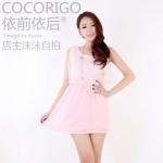 """""""พร้อมส่ง""""เสื้อผ้าแฟชั่นสไตล์เกาหลีราคาถูก Brand Cocorigo เดรสชีฟองแขนกุดสีชมพู คลุมด้วยผ้าลูกไม้สีขาว จั๊มเอว มีซับใน(สีจริงเข้มกว่าในรูปนะคะ)"""