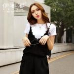 เสื้อยืด 2 ชิ้นไซส์ใหญ่ เสื้อยืดสีขาว+เสื้อสายเดี่ยวลูกไม้สีดำ (XL,2XL,3XL,4XL,5XL) E3126