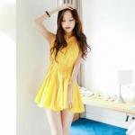 """""""พร้อมส่ง""""เสื้อผ้าแฟชั่นสไตล์เกาหลีราคาถูก Brand Cherry KOKO เดรสผ้าฝ้ายแขนกุด กระดุมหน้า ชายบานๆ มีผ้าผูกเอว ไม่มีซับใน -สีเหลือง"""