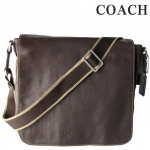 COACH MEN'S HERITAGE WEB LEATHER MAP CROSSBODY/MESSAGE BAG # 70555 สี Brown