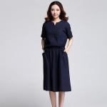 เดรสไซส์ใหญ่ ผ้าคอตตอน แขนสั้น เอวรูด ทรงหลวม กระเป๋าสองข้าง สีน้ำเงิน/สีดำ (XL,2XL,3XL,4XL)