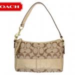 Coach Signature Stripe Top Handle Pouch # 43933 สี Khaki/Gold