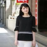 เสื้อชีฟอง คอกลม ไซส์ใหญ่ สีดำ สไตล์เกาหลี แต่งพู่ตรงชายเสื้อ สวยแปลกตาไม่เหมือนใคร (L,XL)