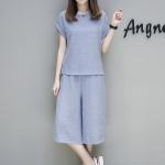 ชุดเซ็ท 2 ชิ้นไซส์ใหญ่ เสื้อ+กางเกง สีฟ้าอ่อน (XL,2XL,3XL,4XL,5XL)