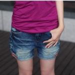 กางเกงยีนส์ขาสั้น ปักลายกระเป๋าหลัง สียีนส์ L XL 2XL 3XL 4XL