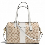 COACH SIGNATURE STRIPE 12CM NANCY SATCHEL # 28505 สี BRASS/LIGHT KHAKI/IVORY