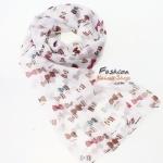 ผ้าพันคอแฟชั่นลายทอฟฟี Toffee : สีขาว CK0237