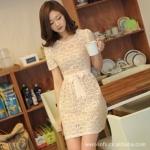 """""""พร้อมส่ง""""เสื้อผ้าแฟชั่นสไตล์เกาหลีราคาถูก Brand Cherry dress เดรสผ้าลูกไม้สีขาว ซับในสีชมพูอ่อน มีซิบซ่อนด้านหลัง พร้อมผ้าผูกเอวเหมือนแบบ"""