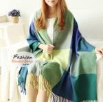 ผ้าพันคอไหมพรมแฟชั่นสไตล์เกาหลี ลายสก๊อต : สีฟ้าเขียว GH0013