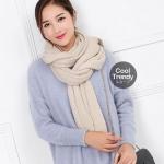 ผ้าพันคอไหมพรม ผ้า cashmere scarf size 180x30 cm - สี cream