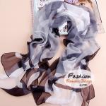 ผ้าพันคอแฟชั่นสวยหรู Luxury : สีน้ำตาลเทา CK0014