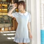 """""""พร้อมส่ง""""เสื้อผ้าแฟชั่นสไตล์เกาหลีราคาถูก Brand Chuvivi เดรสสีฟ้าอ่อน แขนสั้น คอปกขาว กระดุมหลังคอ1เม็ด ชายระบาย ผูกเอวด้านหลัง มีซับใน -size L"""