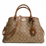 COACH SMALL MARGOT CARRYALL IN SIGNATURE CANVAS # 34608 สี KHAKI/SADDLE