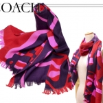 Coach Abstract Horse Carrier shawl scarf wrap # 83835 สี pink scarlet