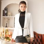 เสื้อคาร์ดิแกน ไหล่เสริมฟองน้ำ สีดำ/สีขาว XL 2XL 3XL