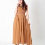 [[พร้อมส่ง]] Longdress0359 : Dress ผ้าชีฟองตัวยาว / สีน้ำตาล