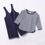 ชุด 2 ชิ้น เสื้อ+เอี๊ยม (สีกรม)