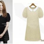 """""""พร้อมส่ง""""เสื้อผ้าแฟชั่นสไตล์เกาหลีราคาถูก Brand Cherry KOKO เดรสลูกไม้ถัก คอปก แขนสั้น มีซับใน -สีเหลือง"""