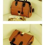 กระเป๋าแฟชั่น Axixi กระเป๋าPU ดีไซน์เก๋ สามารถถอดเป็นกระเป๋าสะพายได้ - สีน้ำตาล