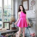 """""""พร้อมส่ง""""เสื้อผ้าแฟชั่นไทย Dress สปาเกตตี้ (Style lookbook) -สีชมพู"""