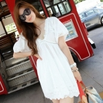 """""""พร้อมส่ง""""เสื้อผ้าแฟชั่นสไตล์เกาหลีราคาถูก Brand Partysu เดรสผ้าฝ้ายลายดอกไม้ คอวี มีซับในช่วงกระโปรง ซิปข้าง -สีขาว"""