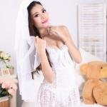 ชุดเจ้าสาวผ้าลูกไม้เซ็กซี่สีขาวไซส์ใหญ่ (XL,2XL,3XL)